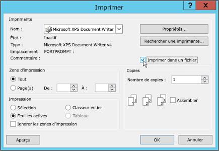 Imprimer dans un fichier