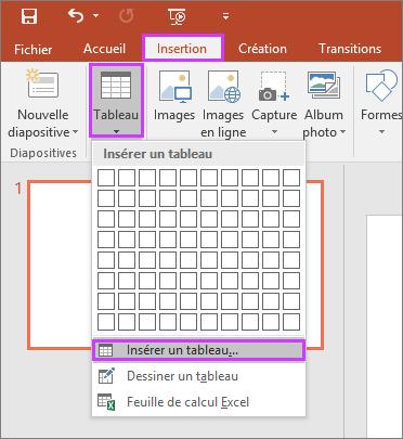 Option Tableau sous l'onglet Insertion du ruban dans PowerPoint