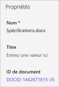 ID de document affiché dans le volet d'informations