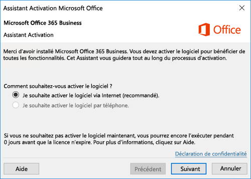 Assistant Activation pour Office 365 Business