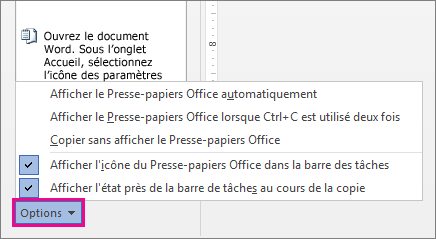 Options du Presse-papiers dans Word 2013