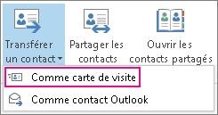 Transférer un contact sous forme de carte de visite