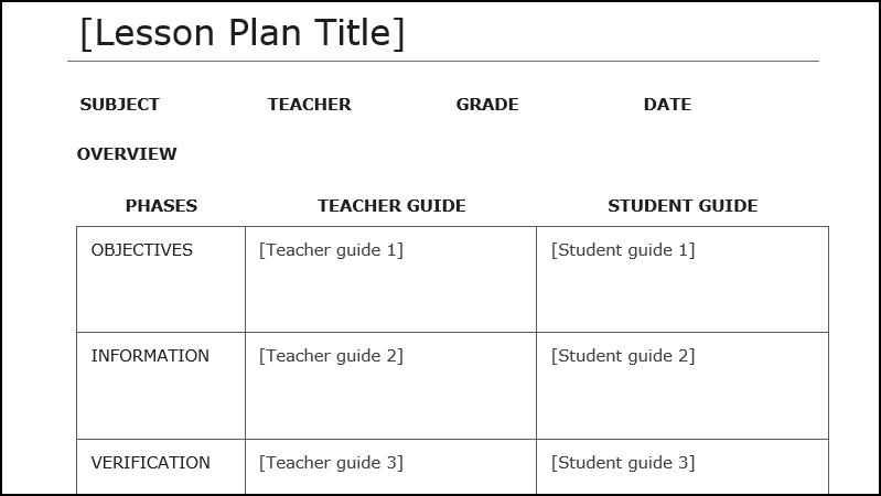 Capture d'écran d'un modèle de plan de cours