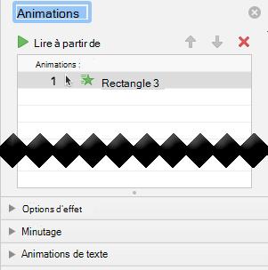Le volet Animation contient les options d'effet, les options de minutage et les options d'effet de texte