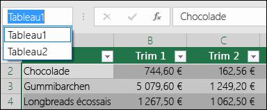 Barre d'adresses de Excel à gauche de la barre de formule