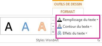 Groupe Styles WordArt sous l'onglet Outils de dessin - Format