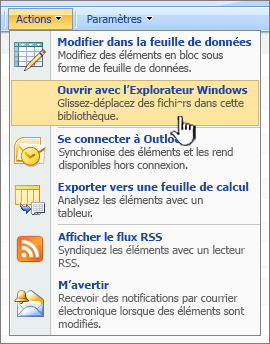 Option de menu ouvrir dans l'Explorateur Windows sous actions