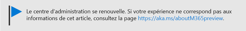 Image avec texte : Le Centre d'administration change, voir https://aka.ms/aboutM365Preview.