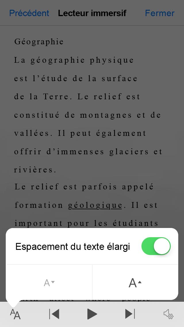 Capture d'écran de la bascule paramètre Lens large Office l'espacement du texte.