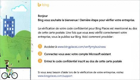 Capture d'écran : Carte postale de vérification de Bing pour Microsoft Listings