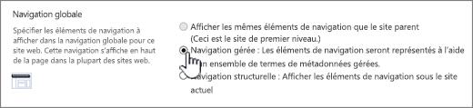 Paramètres de navigation globale avec la navigation gérée sélectionnée
