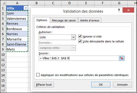 Sélection de la source de validation des données