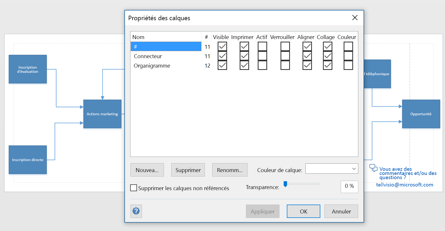 Capture d'écran de la boîte de dialogue Calques dans Visio