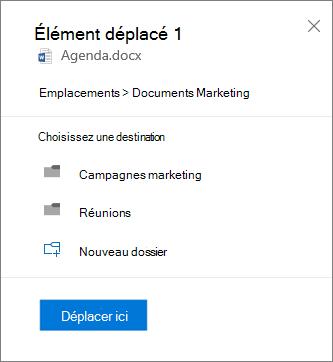 Capture d'écran du déplacement d'un fichier de OneDrive entreprise vers un site SharePoint
