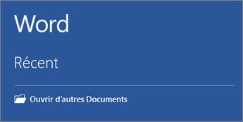 La liste des documents récemment utilisés est affichée.