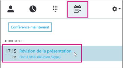 Participer à une réunion à l'aide de l'onglet Réunion de Skype Entreprise