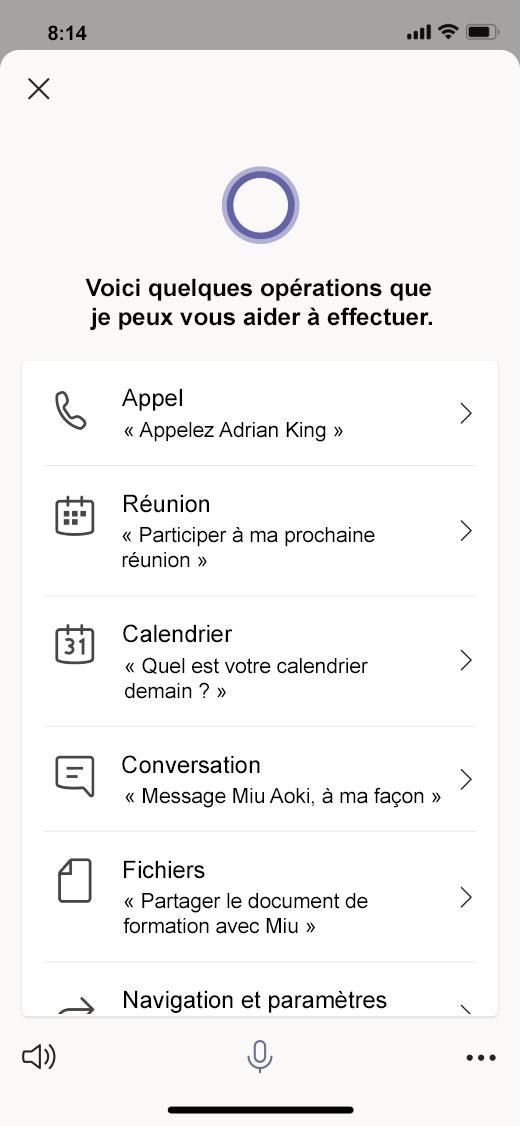 L'assistance vocale Cortana dans Teams inclut l'aide relative aux appels, à la messagerie, aux réunions, etc.