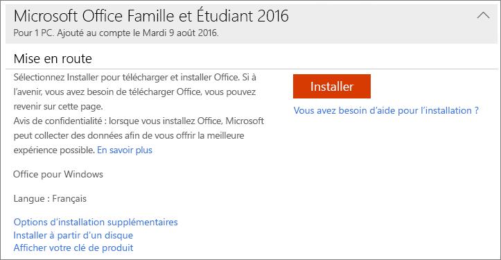Utiliser des cl s de produit avec office 365 office 2016 - Installer office famille et etudiant 2013 ...