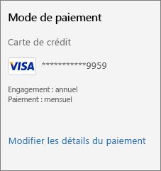 Capture d'écran montrant le lien «Modifier les détails du paiement».