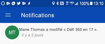 Recevoir des notifications dans le centre de notifications Android lorsque colleages modifier vos fichiers partagés