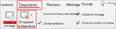 Capture d'écran de l'onglet Diaporama et du bouton Enregistrer le diaporama en plan