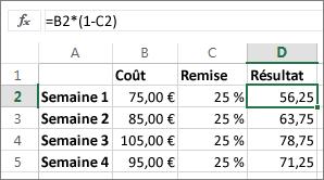 Exemple montrant la réduction d'un montant d'un certain pourcentage