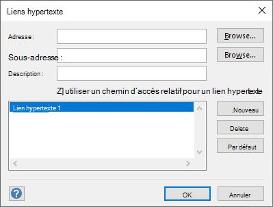 Définissez le lien hypertexte d'une forme dans la boîte de dialogue liens hypertexte.