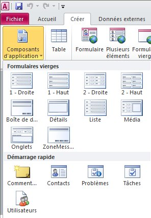Composants d'application sous l'onglet Créer