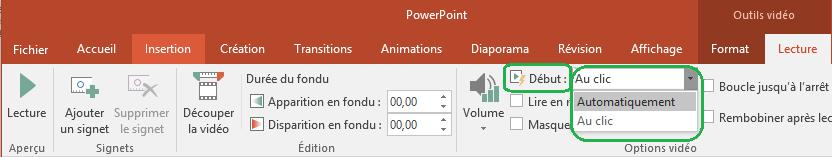 Pour les vidéos insérées à partir de votre ordinateur, vous pouvez choisir de démarrer la lecture automatiquement ou au clic.