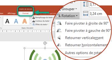 Les commandes de rotation sont disponibles sous l'onglet Format des outils de dessin du ruban de barre d'outils. Sélectionnez l'objet que vous souhaitez faire pivoter, puis cliquez sur le ruban.