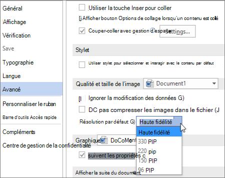 Définir la résolution d'image par défaut