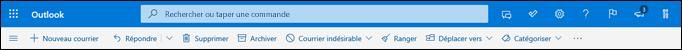 En-tête de la boîte de réception Outlook.com