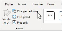 Le bouton Modifier la forme sous l'onglet Format des outils SmartArt