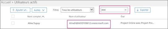 La capture d'écran montre une section de la page Utilisateurs actifs avec un terme de recherche, «allie», tapé dans la zone de recherche adjacente à l'option Filtres, qui est définie sur Tous les utilisateurs. Au-dessous figurent le nom d'utilisateur et le nom d'affichage complet.