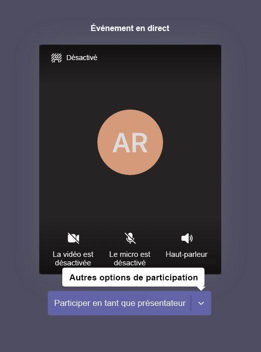 Écran de pré-inscription de l'événement en direct avec bouton pour participer en tant que présentateur