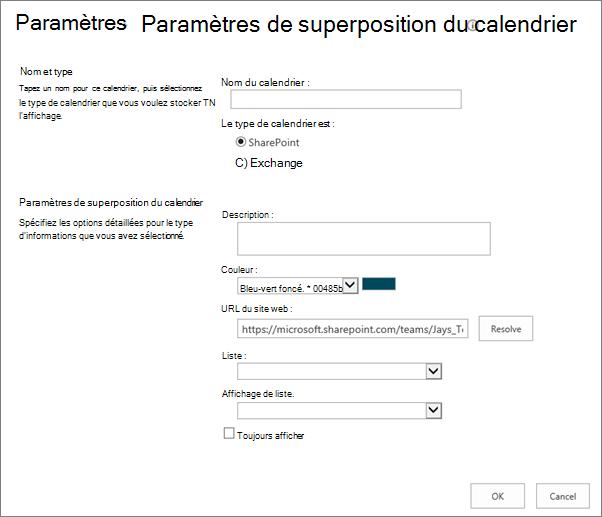 Superposition de calendriers Créer boîte de dialogue.