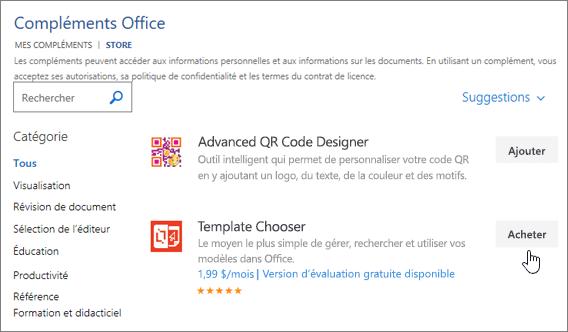 Capture d'écran de la page des compléments Office où vous pouvez sélectionner ou rechercher un complément pour Word.