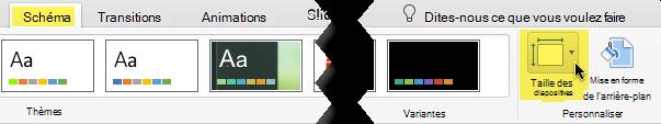 Le bouton Taille des diapositives se trouve à l'extrémité droite de l'onglet Création de la barre d'outils