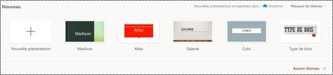 Sélection des thèmes sur la page d'accueil dans PowerPoint online.