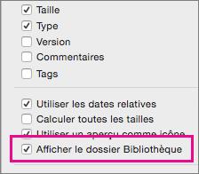 Paramètre Afficher les fichiers de bibliothèque dans les options d'affichage du Finder