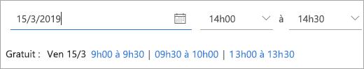 Capture d'écran montrant les heures de disponibilité d'un invité de réunion