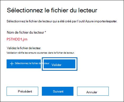 Cliquer sur Valider pour valider le fichier de lecteur que vous avez sélectionné