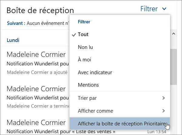 Capture d'écran du menu Filtre avec la sélection Afficher la boîte de réception Prioritaire