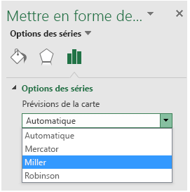 Options de prévision Excel carte graphique