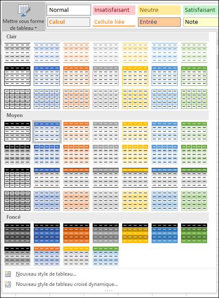 Tableau Excel - Galerie de styles