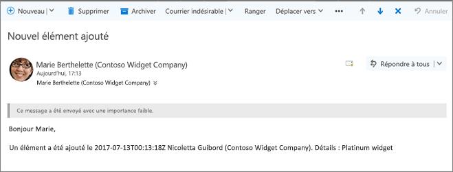Message envoyé par Microsoft Flow lorsqu'un élément modifié