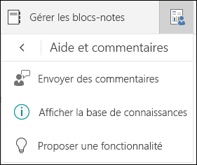 Options de sélection de l'option gérer les blocs-notes