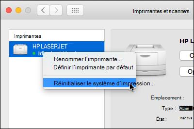 Contrôle sur la liste des imprimantes à accéder réinitialiser le système de l'impression sur OSX