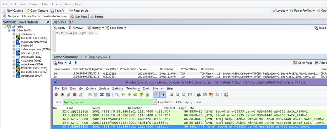 Filtre dans Netmon ou Wireshark sur les paquets SYN pour les deux outils: TCP.Flags.Syn == 1.