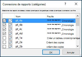 Connexions de rapport de segment à partir des outils de segment > options
